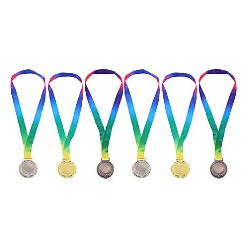 CLISPEED 6 Piezas de Medallas de Premios Deportivos Medallas de Maratón 1St 2Nd 3Rd Places Medallas de Oro Y Plata para La Competición de Deportes Universitarios