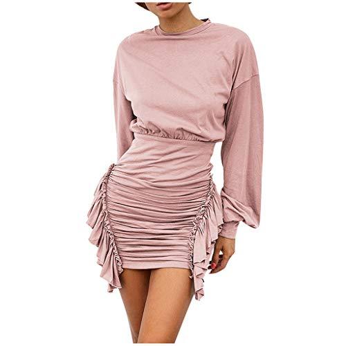 Damen Minikleid Luotuo Frauen Bodycon Kleid Cocktailkleid Sexy Langarm Unregelmäßig Geraffte Bleistiftkleid Festlich Partykleid Einfarbig Eng Kleid Etuikleid Bussinesskleid