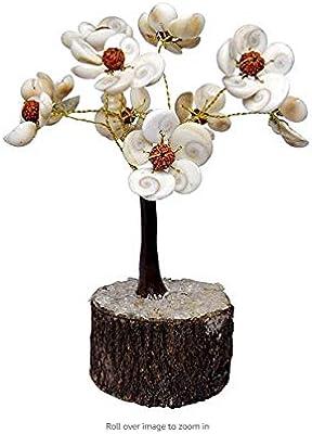 Shubhanjali® Gomti Chakra Tree with Rudraksha Beads Flower Tree for Vastu, 54 Beads Natural Energised Gomti Chakra 9 Flower Tree for Home Decor, Good Luck, Golden, Housewarming Gift (6.5 Inch)