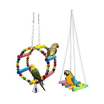 Gwotfy Jouet d'oiseaux, Jouets pour Oiseau pour Perroquet, 2 Pièces Jouets pour Perroquet, Suspendu Balançoire Socle pour Perroquet, perruches, aras, pinsons