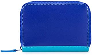 mywalit Women's Zip Round Fan C/C Holder With Rfid Blue