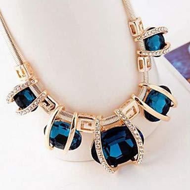 QLSchmuck Sapphire Crystal Statement Halskette Bib Aquarius Ladies Festival/Holiday Imitation Diamond Blue Screen Color Dark Green Halskette für Party Special, Blau, One Size.
