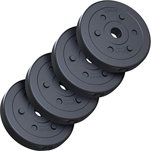 ScSPORTS® 10 kg Hantelscheiben-Set, Kunststoff, 4 x 2,5 kg Gewichte, 30/31 mm Bohrung, durch Intertek geprüft + bestanden (1)
