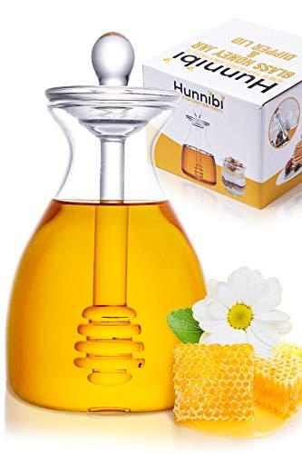 Handmade Honey Jar with Dipper, Glass Made Honey Dipper