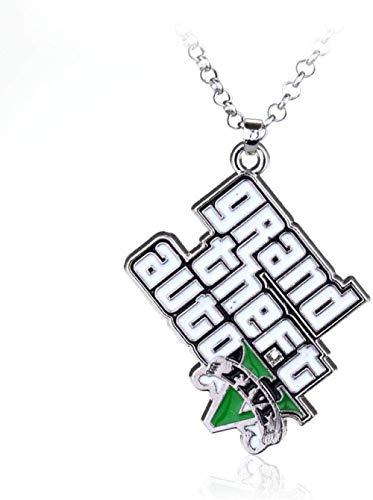Mxdztu Co.,ltd Collar Collar Gótico Collar De Juego Clásico Grand Theft Auto Five V Logo Collar con Colgante De Esmalte Blanco para Mujeres Y Hombres Joyería Fresca