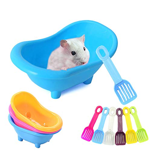 MUMAX Hamster Bathtub, Plastic Bathroom Container with Bathing Sand Scoop Set for Small Pets Animal Chinchilla Golden Bears Black Bear Hamsters Gerbil Mouse
