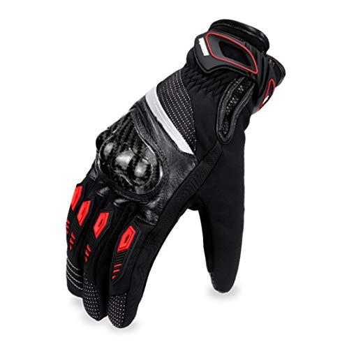 Gants de Moto en Cuir Vachette Hiver Chaud Imperméable Gants Doigts Complets avec Écran Tactile, Homme Femme Equipement de Course Professionnel,Red,L