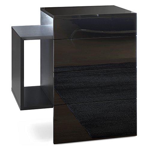 Vladon Nachttisch Nachtkonsole Queens, Korpus in Schwarz matt/Front und Oberboden in Schwarz Hochglanz mit weißem LED Unterbaustrahler