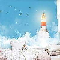 3D写真壁紙壁画地中海青空白い雲灯台子供部屋寝室の装飾壁画-400x280cm