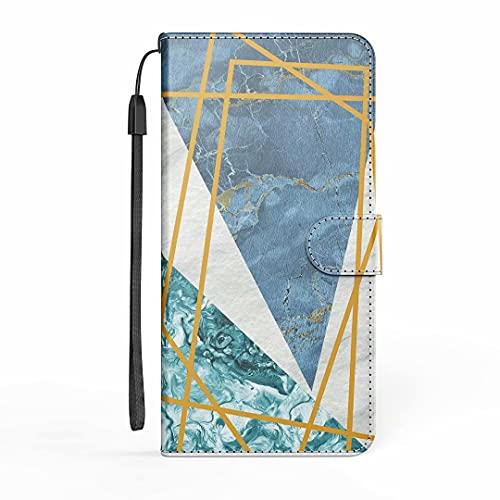 Funda para Samsung Galaxy A11, funda para teléfono Samsung A11, de mármol, a prueba de golpes, de piel, con tarjetero, protector de silicona para Samsung Galaxy A11, color rosa y azul