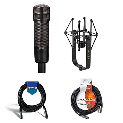 Electro-Voice RE320 Variable-D Dynamic Vocal and Instrument Microphone - Bundle with Shockmount & Cables