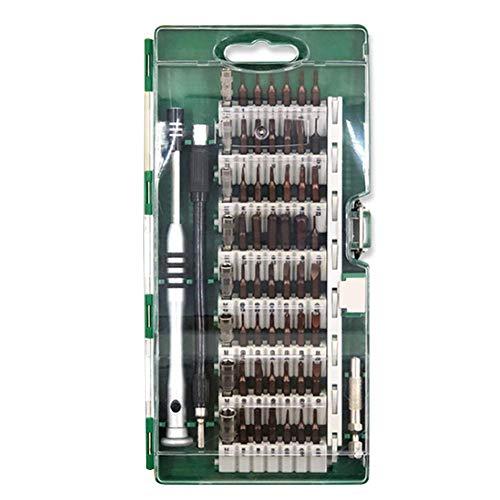 Juego de mini destornilladores magnéticos de precisión, 57 piezas, para móviles, modelos electrónicos y electrónicos, Verde