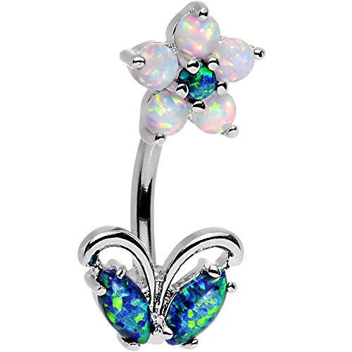 Body Candy Steel Clear Brilliant Blue Synthetic Opal Flourishing Flower Double Mount Belly Ring