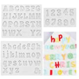 CALISTOUK 3Pcs Moldes de Silicona con Letras del Alfabeto Pequeñas, Mini Molde de Resina Epoxi para Hacer Bricolaje