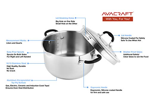 AVACRAFT Top Rated Stainless Steel Stockpot with Glass Strainer Lid, 6 Quart Pot, Saucepan cookware, Side Spouts, Multipurpose Stock Pot, Sauce Pot, Soup Pot in our Pots and Pans, Induction Pan (6QT)