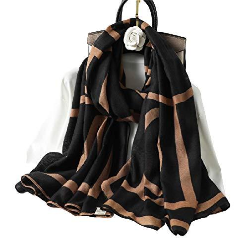 Bufanda De Algodón para Mujer, Chal Cálido De Invierno, Pañuelo A Cuadros Geométricos para Mujer, Bufandas De Primavera para Mujer, 180X90Cm, 2 Marrones