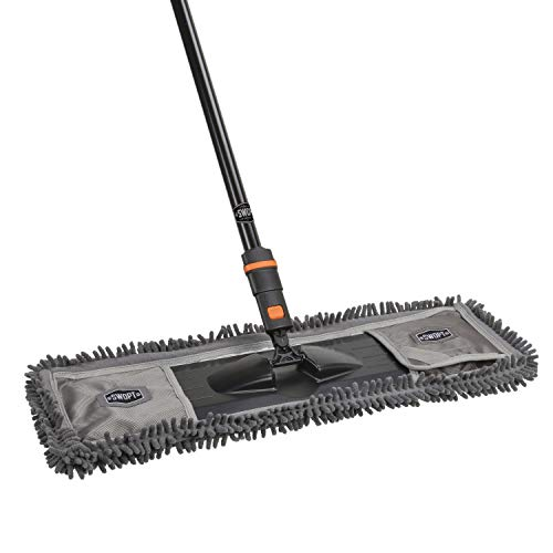"""24"""" SWOPT Dust Mop w/Microfiber Combo – 60"""" Steel Handle – Clean Hard-to-Reach Areas – Machine Washable – Handle Interchangeable with Other SWOPT Cleaning Heads"""