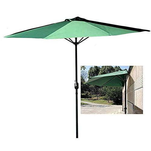 Riyyow Parasol Paraguas Verde Fuera de la Pared Medio Paraguas, a 9 pies - Ancho, Paraguas Media Redonda con Marco de Acero Resistente y Mango de manivela Conveniente, para Porche (Size : 270cm/9ft)