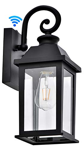 Outdoor Wall Light Dusk to Dawn Sensor Porch Light Exterior Wall Sconce Waterproof Anti-Rust Matte Black Wall Lantern Outdoor Llight Fixture Wall Mount with Glass Shade for Patio (Bulb Not Included)