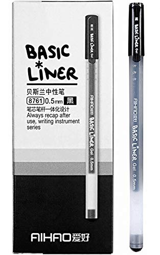 Liquid Ink Rolling Ball Stick Pens Gel Ink Black Pens Ink Fine Point Rollerball pen, School and office Use Smooth Skip-Free Writing,Smooth fine writing pens, Visible Ink Supply (0.5mm) (12-Pack)