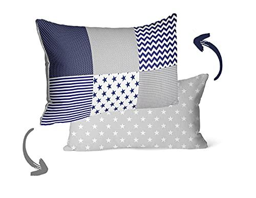 Kissenbezug Kinder Baumwolle Kopfkissenbezug - Patchwork Kissenhülle Baby Dekokissen Bezug für Kissen (Blau- Weiß- Grau, 40 x 60 cm)
