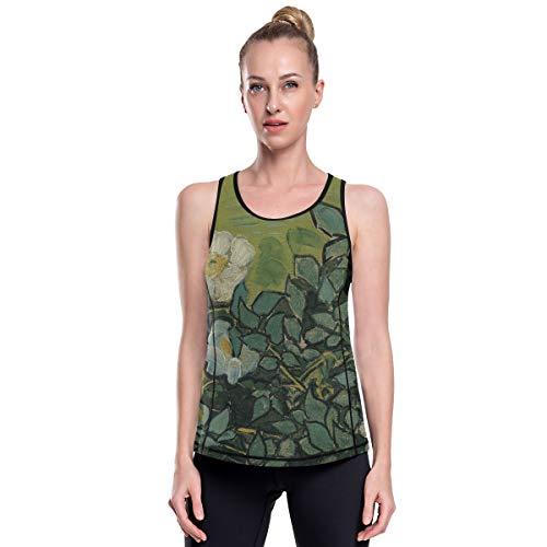 Fantazio Van Gogh Wild Roses Vêtements d'entraînement en maille pour le yoga et la gym - - XL