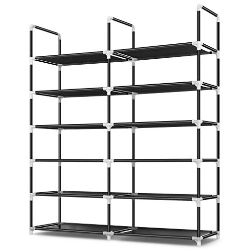 Awenia Shoe Rack 6 Tier, Durable and Stable Shoe Organizer 30 Pairs Space Saving Shoe Tower Shoe Shelf for Closet Entryway Hallway, Non-Woven Fabric, Black