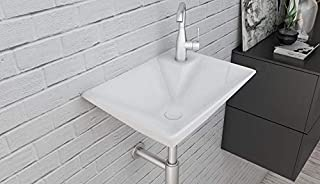 Ceramic Wall Mounted/Wall Mount/Wall Hung Wash Basin Bathroom Porcelain Vessel Sink Above Counter Countertop Bowl Sink for Lavatory Vanity Cabinet Contemporary Style 36 x 35 x 13.5 cm White