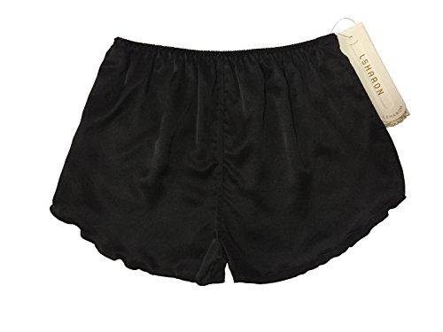 Lsharon Damen-Boxershorts, 100 % Maulbeerseide, Nachtwäsche, Shorts Gr. Einheitsgröße, Schwarz