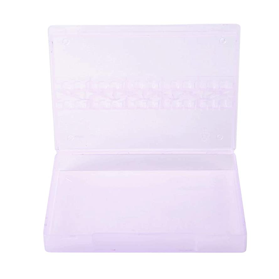 14グリッド ネイルドリルビット 透明 プラスチック 収納ボックス ネイルポリッシュ ヘッドディスプレイ ケース ネイルツール コンテナー(01)