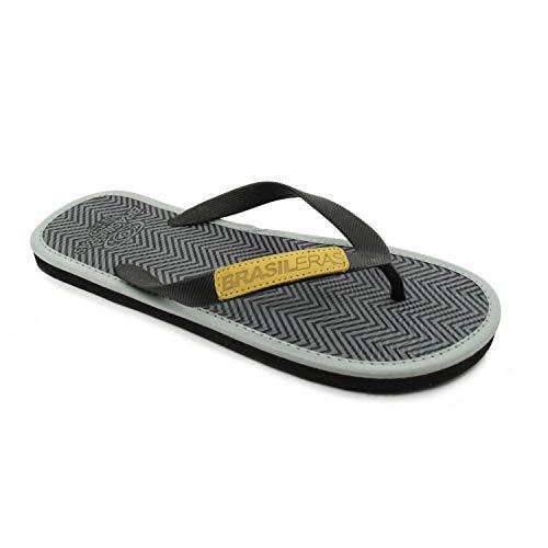 Chanclas de Playa BRASILERAS®,Zick Zack. Suela Antideslizante del 39 al 46. Hombre para Interior/Exterior. Zapatos de Piscina Verano