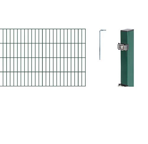 GAH-Alberts 642570 Doppelstabmattenzaun als  12 tlg. Zaun-Komplettset | verschiedene Längen und Höhen - wahlweise in verschiedenen Farben | kunststoffbeschichtet, grün | Höhe 80 cm | Länge 10 m