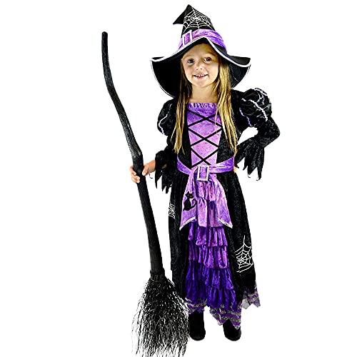 JGHPP Disfraz para Niños, Vestido De Falda De Bruja para Niña, Disfraz De Vacaciones De Halloween, Vestido De Princesa Bruja, Disfraz
