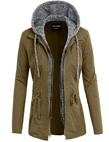 Anorak Jacket Women, Lightweight, Long Military Cargo Parka, Regular & Plus Size L22_ Olive S
