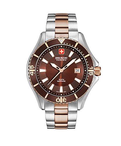 Swiss Military Hanowa Herren Analog Quarz Uhr mit Edelstahl Armband 06-5296.12.005