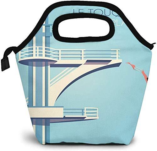 Paris Plage - Bolsa de almuerzo con aislamiento para uso de vacaciones, bolsa de almuerzo para picnic, enfriador portátil, bolsa de almuerzo para mujeres, niñas, hombres y niños