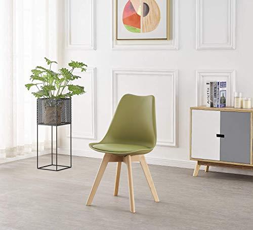 Life Interiors: Lorenzo Retro - Silla de plástico | Asiento acolchado | Patas de madera | Sillas de comedor | Diseño clásico – Blanco Negro Gris Rojo Amarillo Rosa Verde Azul | (Verde Lima, 1)