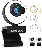 60FPS AutoFocus ePTZ Webcam, 2021 NexiGo N620E with 2X Digital Zoom, Ring Light & Privacy Cover, [Software Included], 1080P FHD Streaming Web Camera, Dual Stereo Mics, for Zoom Skype Teams