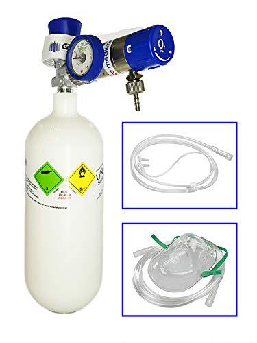Mobiles Sauerstoff-Notfallsystem - 0,8 Liter medizinischer Sauerstoff (Leichtstahlflasche) mit Druckminderer MediSelect 25 und Maske