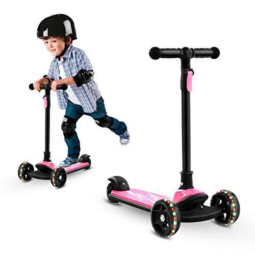 Hondony Patinete plegable para niños con 3 ruedas luminosas, 4 alturas ajustables de 59,5 cm a 92,5 cm, para niños a partir de 3 4 5 6 7 8 años (rosa)