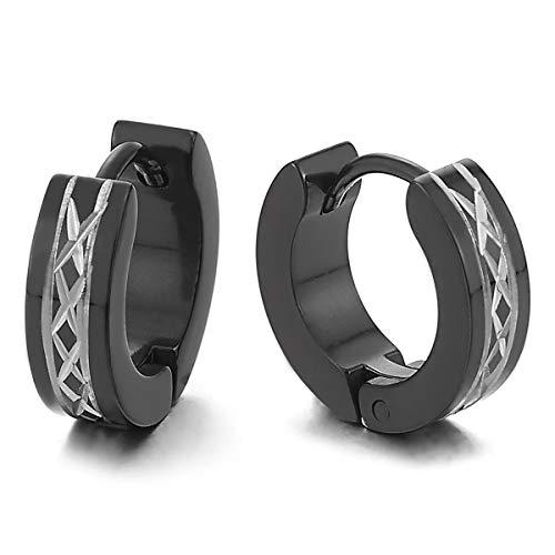 Paar Silber Schwarz Creolen für Herren Damen, Edelstahl Huggie Ohr Manschette Ohrringe mit Rhombus Laser-Muster