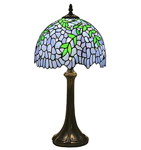 NANXCYR Lámpara de Mesa Estilo Tiffany con vidrieras, luz púrpura para mesita de Noche, 12 Pulgadas, 18 Pulgadas, Hojas Verdes Altas, Pantalla, Amante, Padre, Amigo, niño
