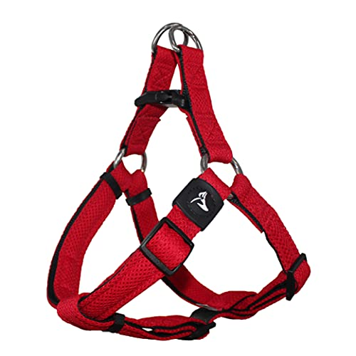 KRUZ PET KZA201-14L Step in Mesh Dog Harness – No Pull, Easy Fit Adjustable Pet Harness – Comfortable, Lightweight Padded Harness for Walking or Training Small, Medium, or Large Dogs, Red, Large