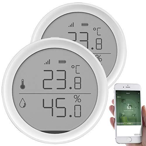 Luminea Home Control Temperaturfühler: 2er-Set WLAN-Temperatur- & Luftfeuchtigkeits-Sensor mit App (Hygrometer WLAN)