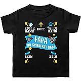 Sport Baby - Papa - Du schaffst das! - weiß/blau - 3/6 Monate - Schwarz - Baby Badminton - BZ02 - Baby T-Shirt Kurzarm