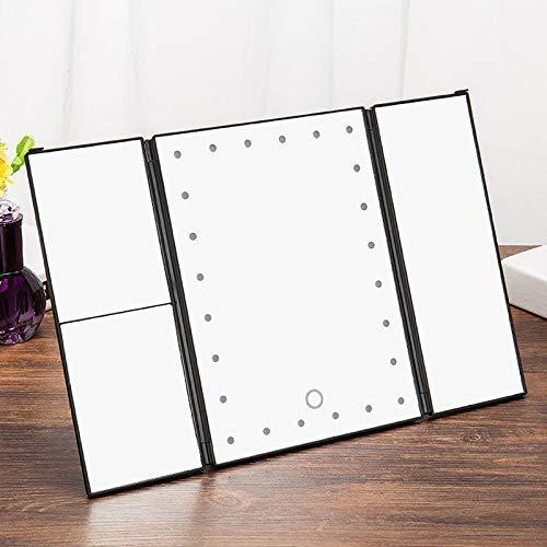RONGW JKUNYU Touch Iluminado Maquillaje Espejo, Escritorio Trifold Maquillaje Espejo de baño 3X / 2X / 1X Magnificación Regulable 180 ° de rotación Iluminado encimera Espejo cosmético Espejo de Pared