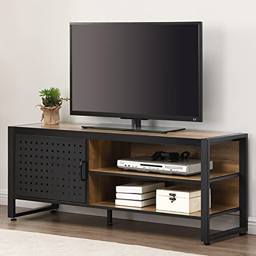 O&K FURNITURE Industrial TV Stand for 55 Inch TV, TV Cabinet with Shelves and Door, Gaming TV Entertainment Center Stand with Storage, Media Console Table for Living Room, Rustic Brown