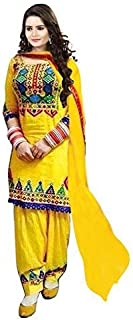 Florence Women's cotton straight Salwar Suit Set (SL017- Yellow_ Xx-Large)