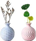 WLALLSS Florero Jarrón cerámica con Boca Estrecha 2 PCS 8.3 * 9.5CM Mini Botella arreglo Floral hidropónico Contenedor Almacenamiento Plantas secas Rosa y Azul