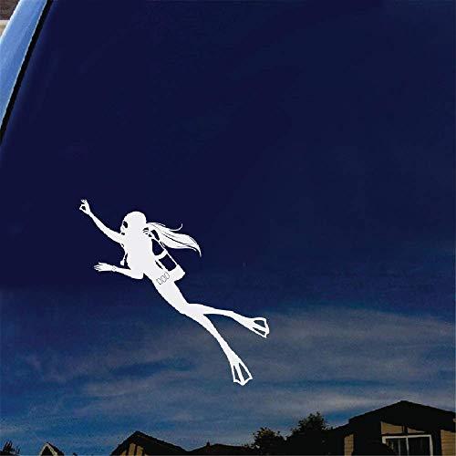 16,8x16,4 Cm Spezielle Aufkleber Mit Tauchen Bewegung Comic-figuren Der Taucherin Aufkleber Für Auto Laptop Fenster Aufkleber